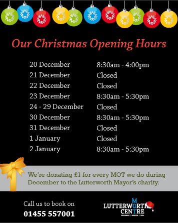 Our Christmas Opening Hours for 2013