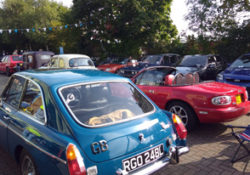 Car Show Mk4. Cars lining up early, ready for visitors to start arriving.